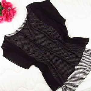 Express Striped Tank with Sheer Cover Top